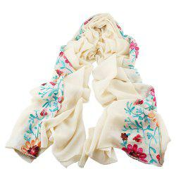 Beautiful Colorful Embroidery Flower Cotton Scarf -