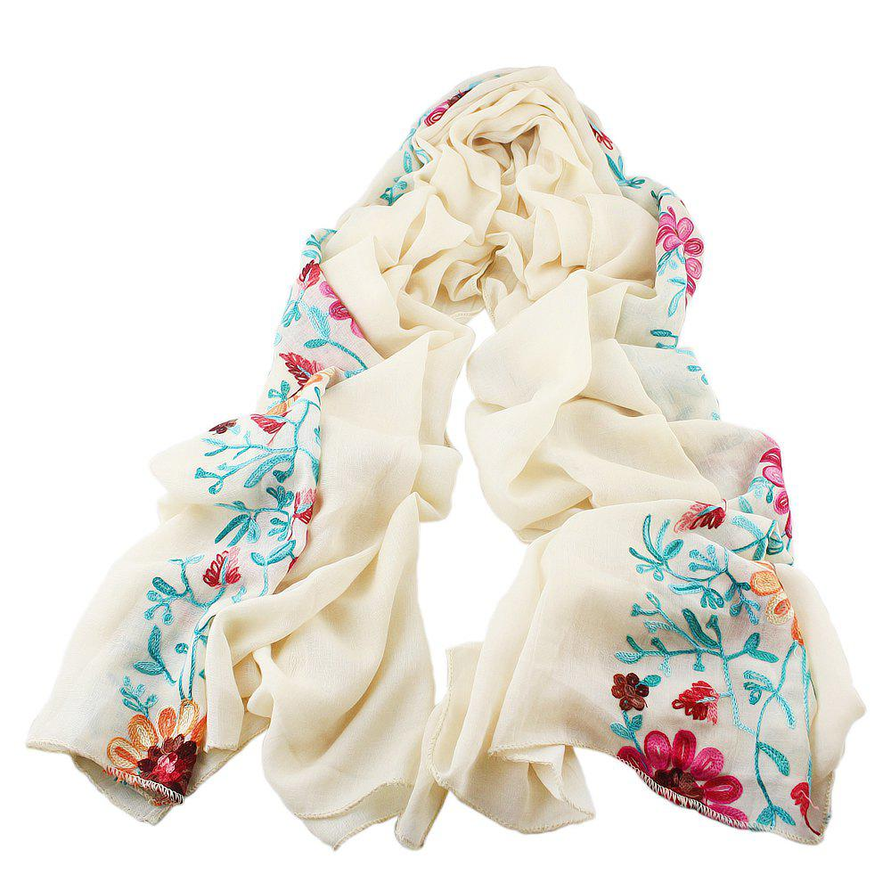 Online Beautiful Colorful Embroidery Flower Cotton Scarf
