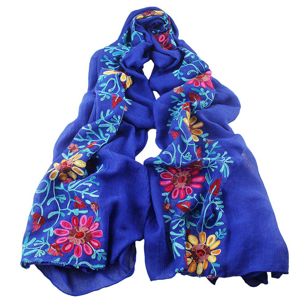 Cheap Beautiful Colorful Embroidery Flower Cotton Scarf