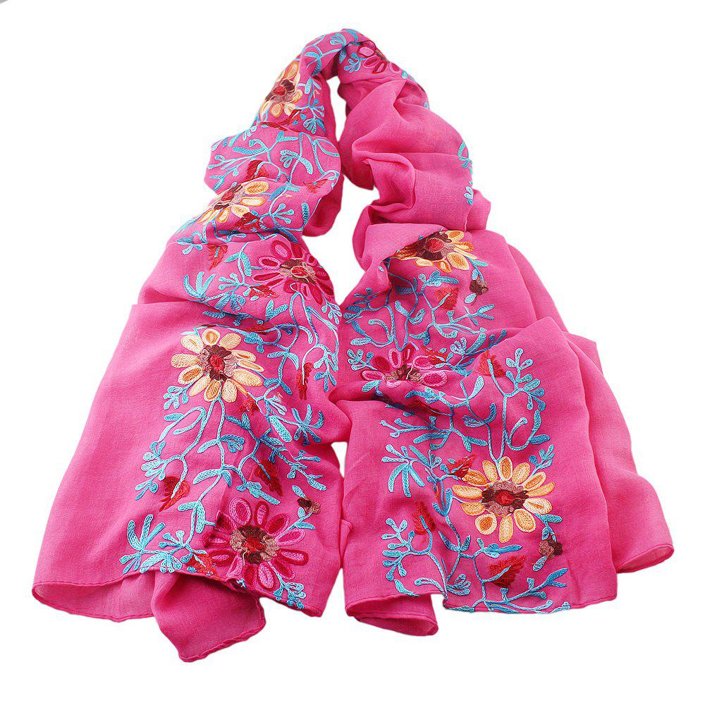 Store Beautiful Colorful Embroidery Flower Cotton Scarf