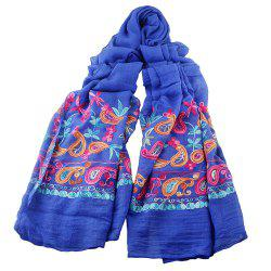 Fashion Beautiful Colorful Embroidery Flower Cotton Scarf -