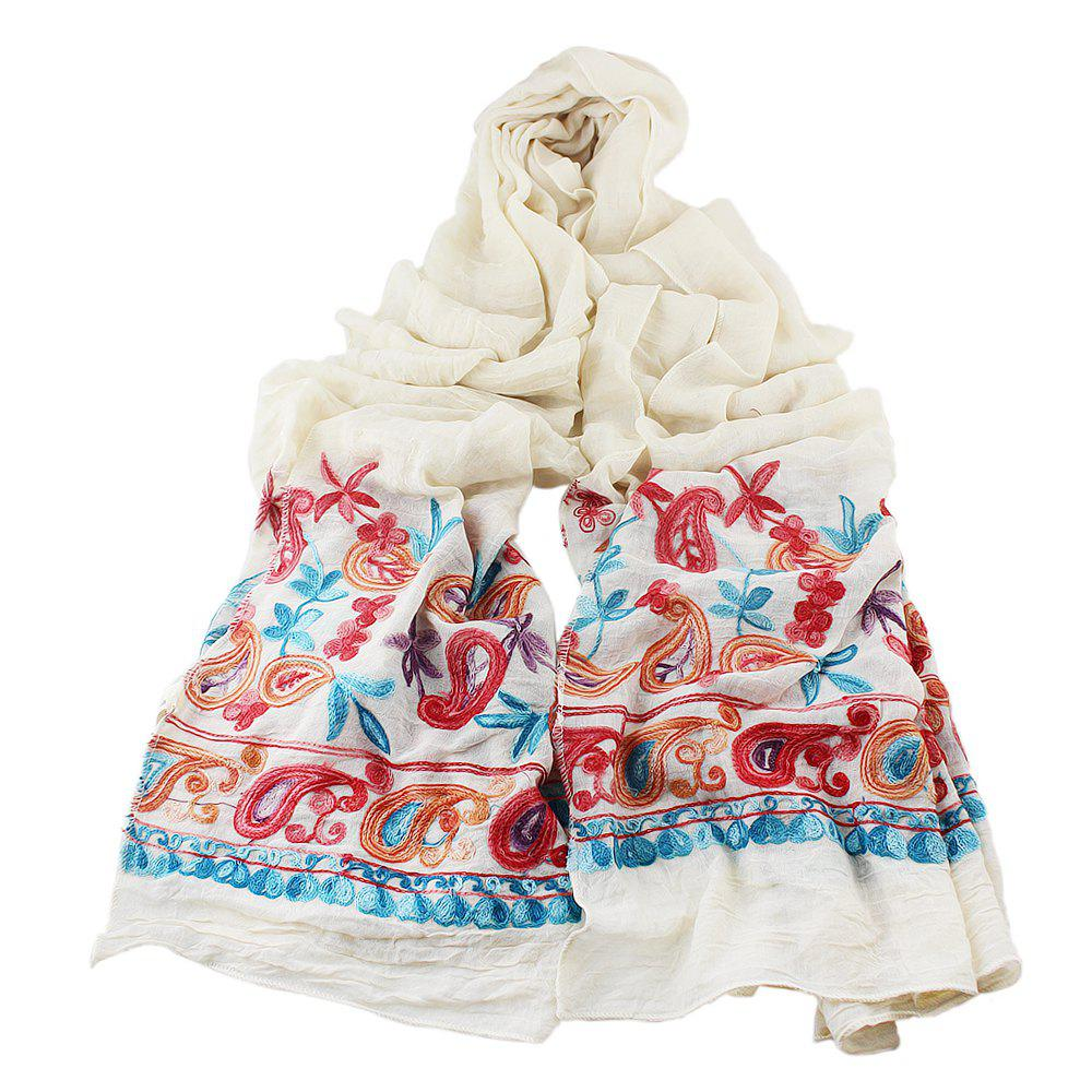 Hot Fashion Beautiful Colorful Embroidery Flower Cotton Scarf