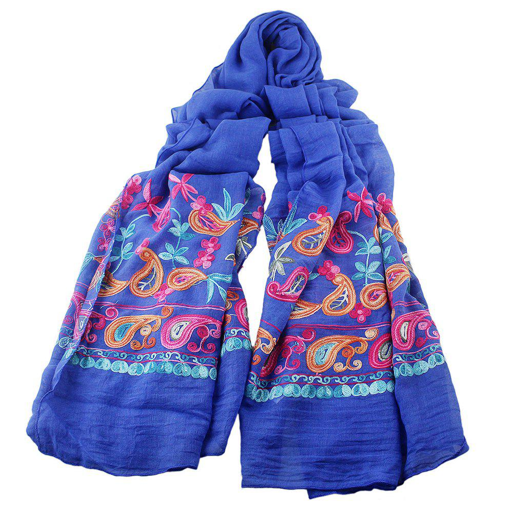 Fancy Fashion Beautiful Colorful Embroidery Flower Cotton Scarf