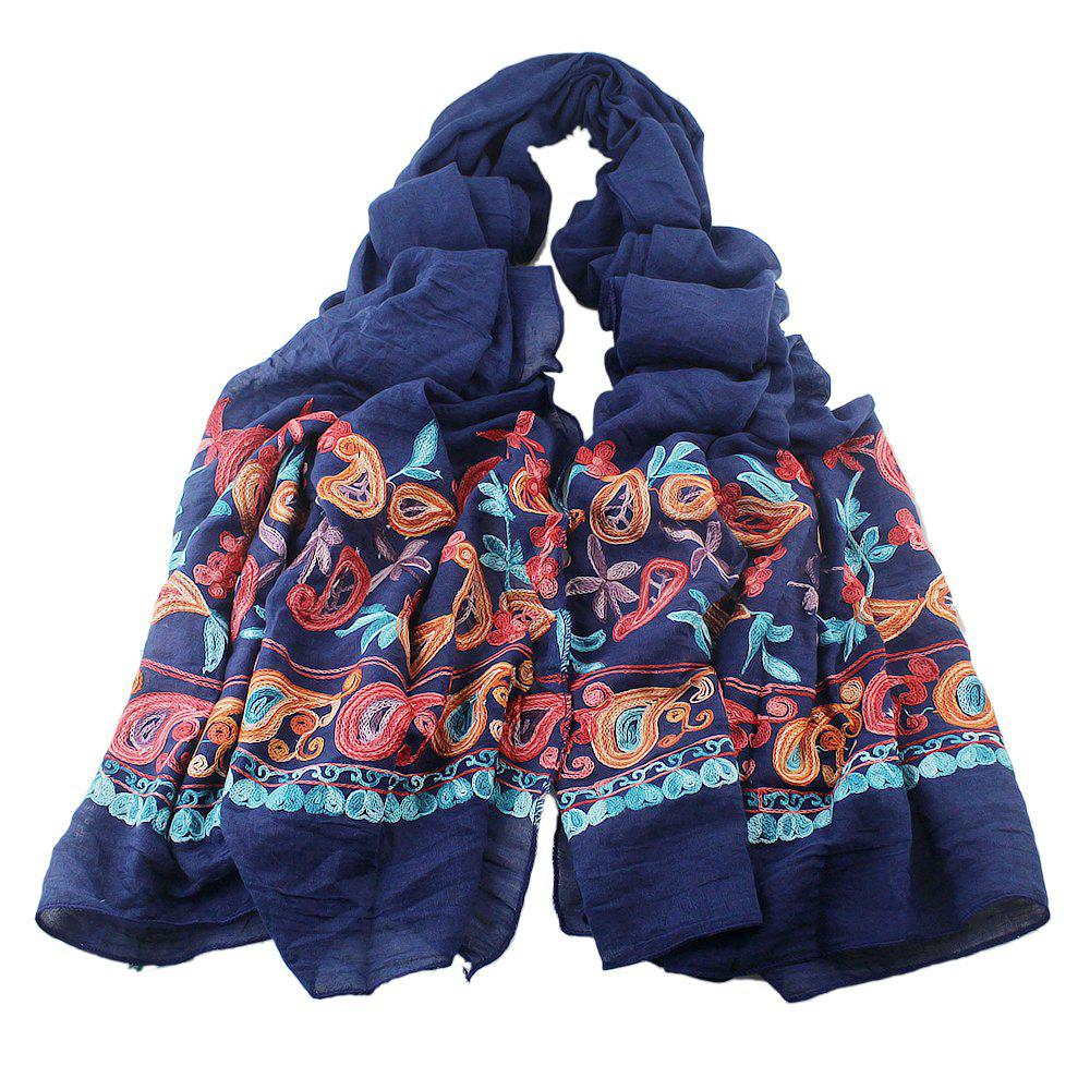 Trendy Fashion Beautiful Colorful Embroidery Flower Cotton Scarf