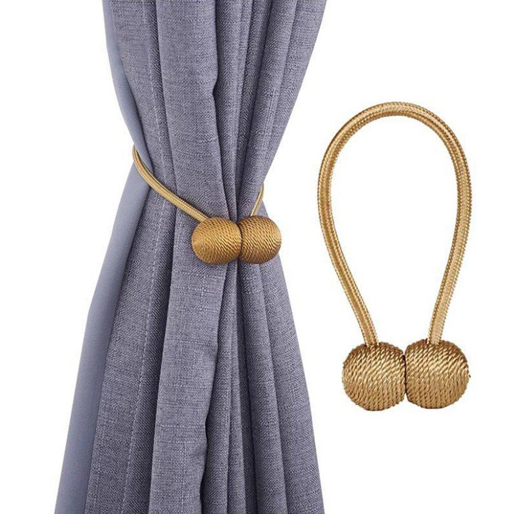 Store 2PCS Curtain Tiebacks with Strong Magnet