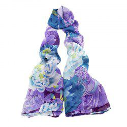 Fashion Colorful Printing Peony Flower Long Silk Scarf -