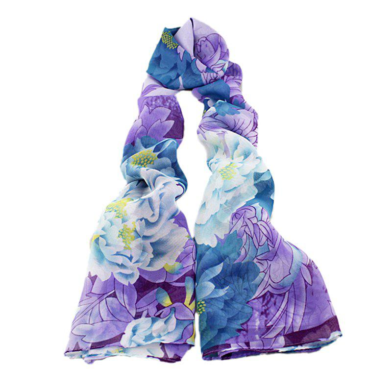 Shop Fashion Colorful Printing Peony Flower Long Silk Scarf