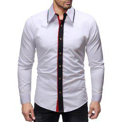 Men's Fashion Contrast Color Stitching Casual Wild Slim Long-sleeved Shirt -