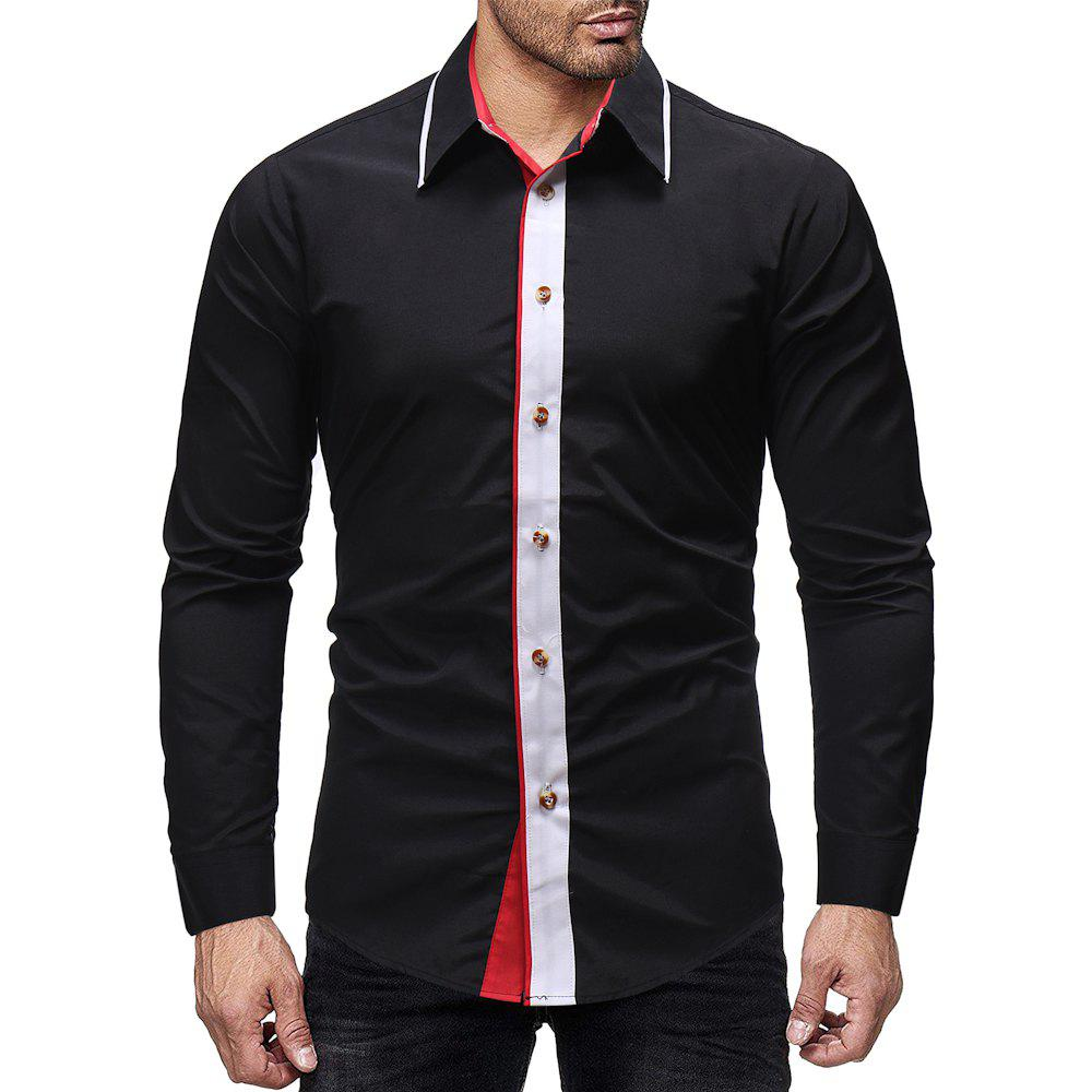 Outfits Men's Fashion Contrast Color Stitching Casual Wild Slim Long-sleeved Shirt