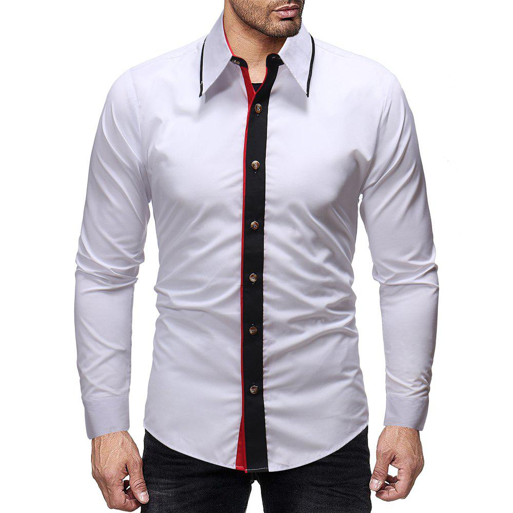 Hot Men's Fashion Contrast Color Stitching Casual Wild Slim Long-sleeved Shirt