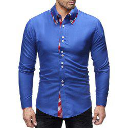 Men's Fashion Plaid Contrast Color Mosaic Simple Wild Casual Slim Shirt -