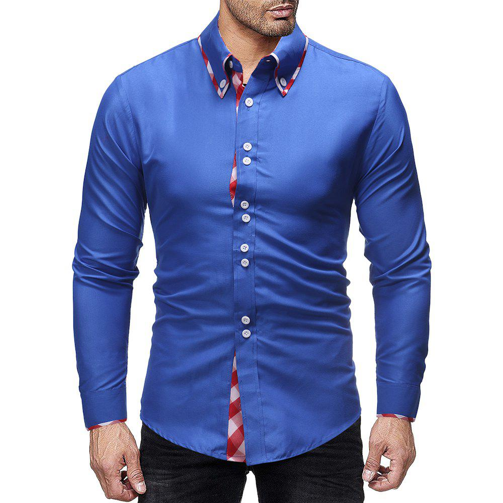 Latest Men's Fashion Plaid Contrast Color Mosaic Simple Wild Casual Slim Shirt
