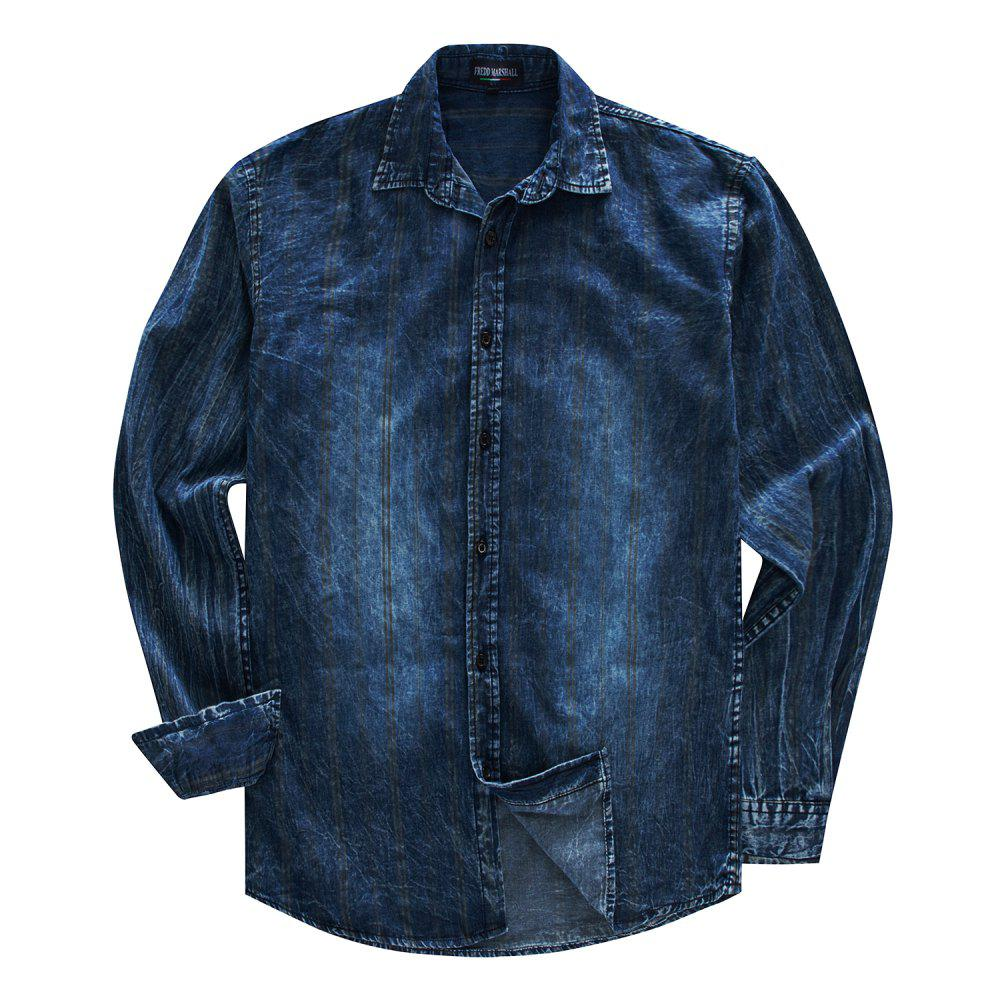 Outfits FREDD MARSHALL Men's Long Sleeve Cotton Striped Printed Denim Shirt