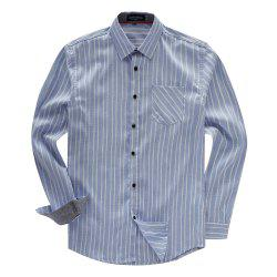 FREDD MARSHALL Men's Long Sleeve Cotton Striped Casual Shirt -