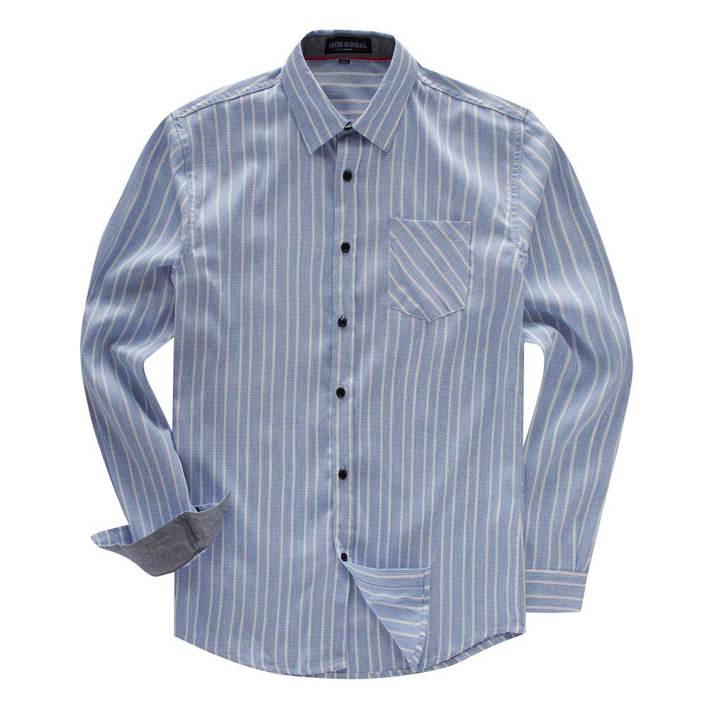 Outfit FREDD MARSHALL Men's Long Sleeve Cotton Striped Casual Shirt