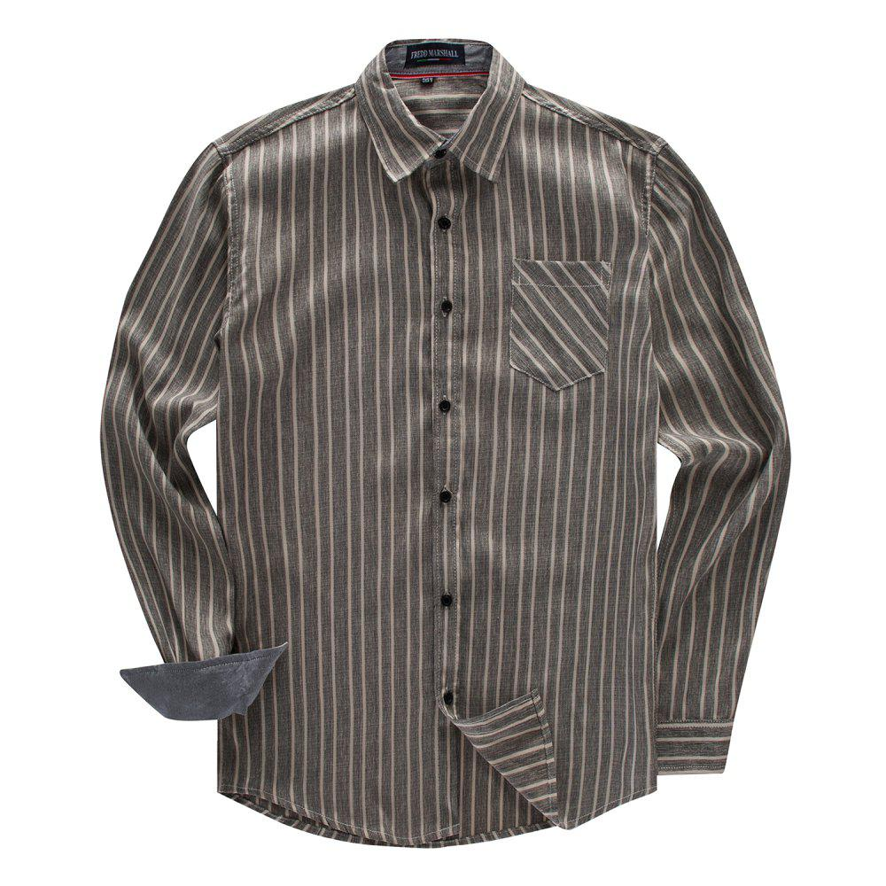 Unique FREDD MARSHALL Men's Long Sleeve Cotton Striped Casual Shirt
