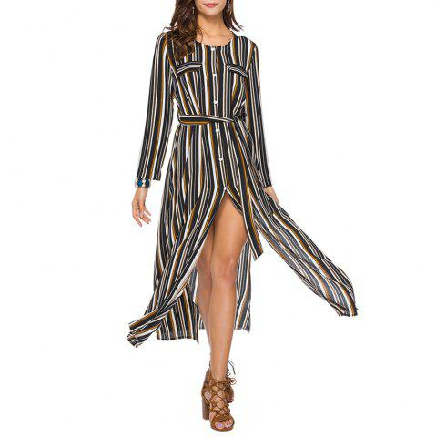 Women's Round Neck Long Sleeve Stripes Print Buttons Chiffon Maxi Shirt Dress