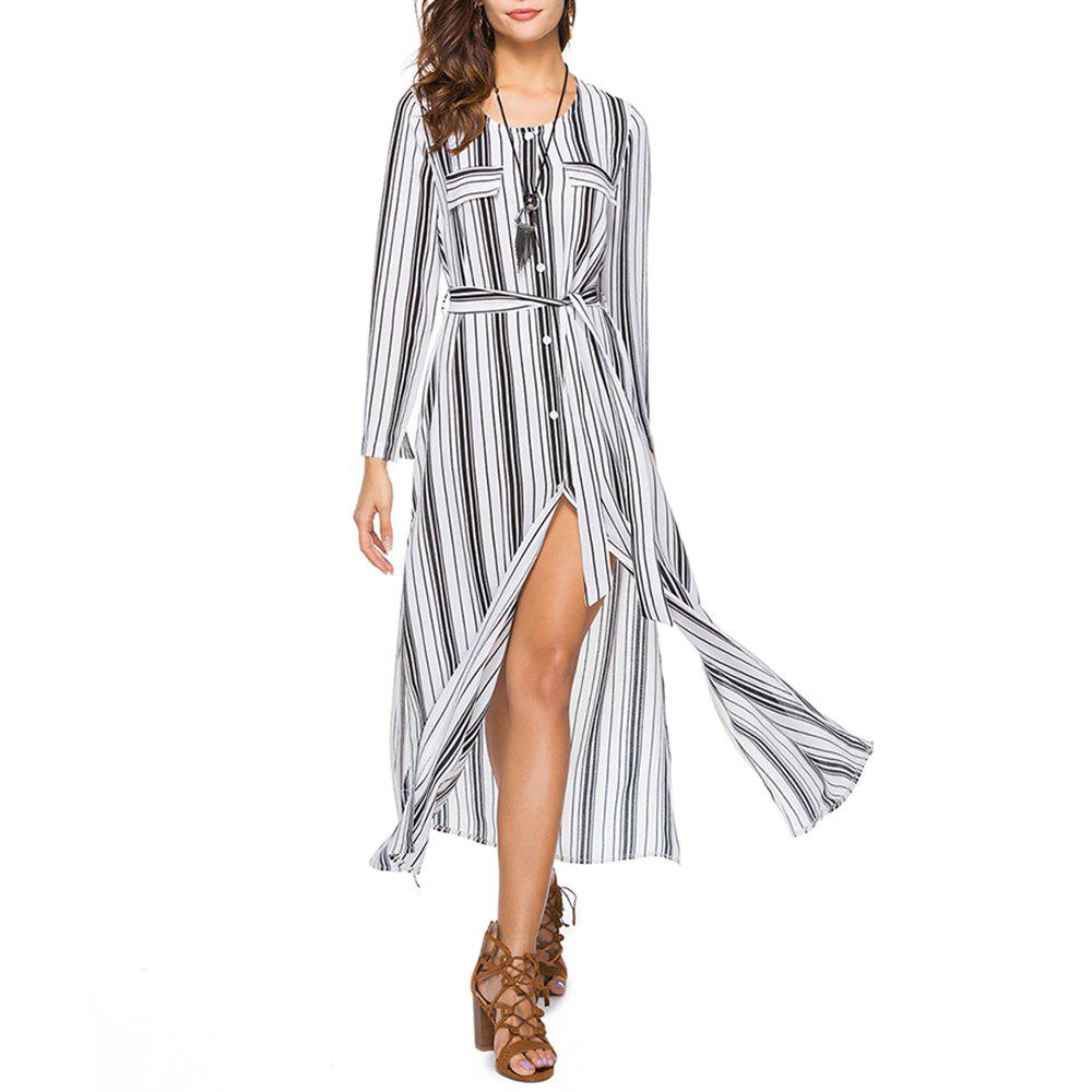 Shops Women's Round Neck Long Sleeve Stripes Print Buttons Chiffon Maxi Shirt Dress