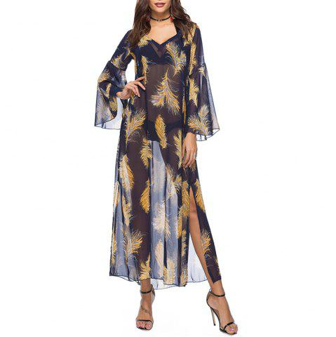 Women's Fashion Print Flare Sleeve Beach Smock Chiffon Casual Maxi Dress