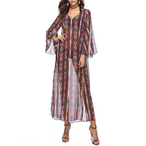 Women's Chiffon V-neck Flare Sleeve Ethnic Print Split Beach Loose Smock Dress