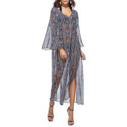 Женская шифон V-образным вырезом Flare Sleeve Ethnic Print Split Beach Loose Smock Dress -