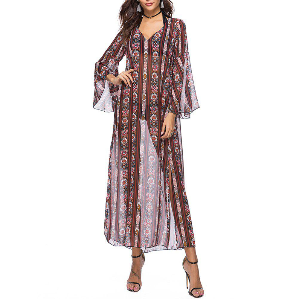 Женская шифон V-образным вырезом Flare Sleeve Ethnic Print Split Beach Loose Smock Dress