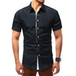 Solid Color Short Sleeve Casual Wild Men's Shirt -