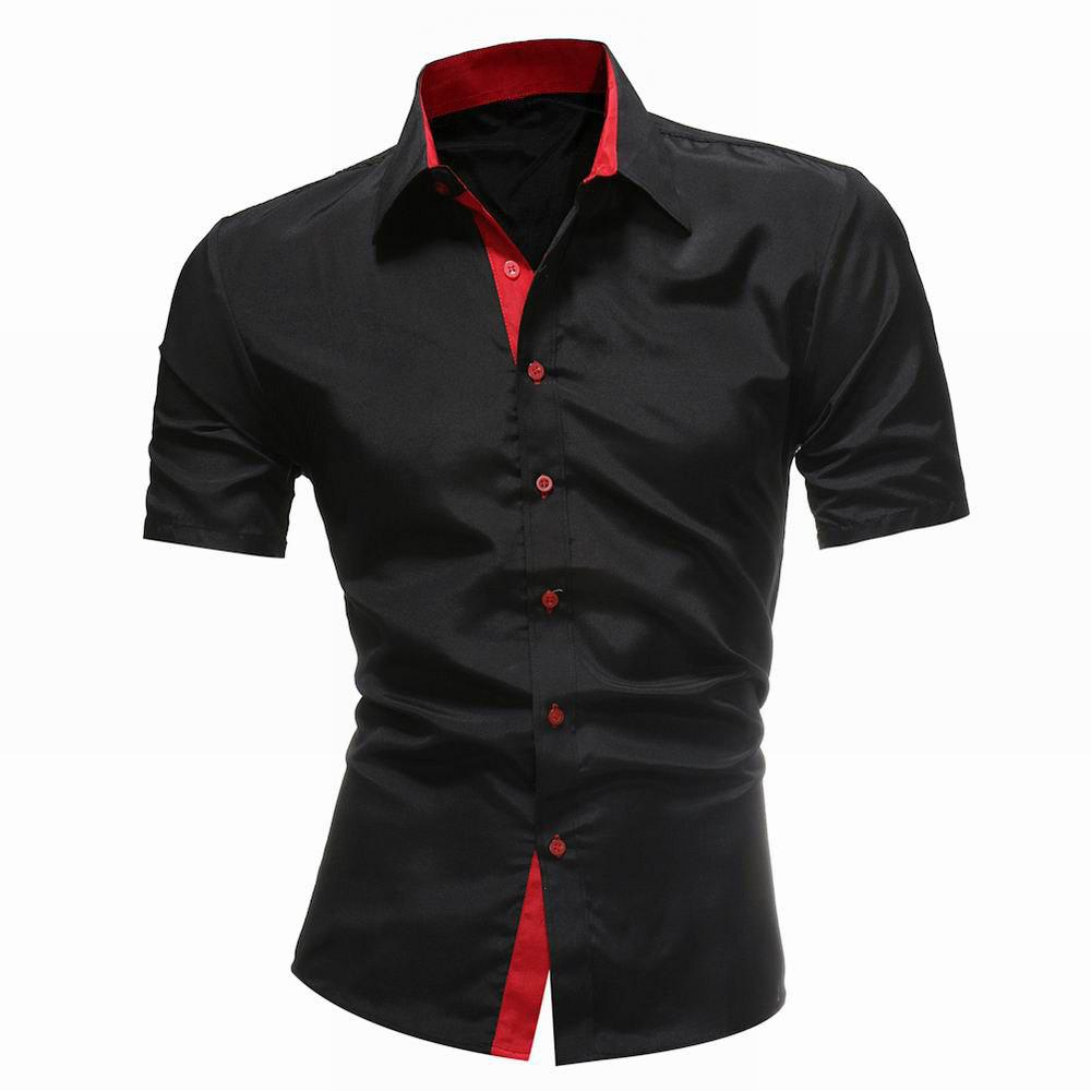 Outfit Solid Color Short Sleeve Casual Wild Men's Shirt