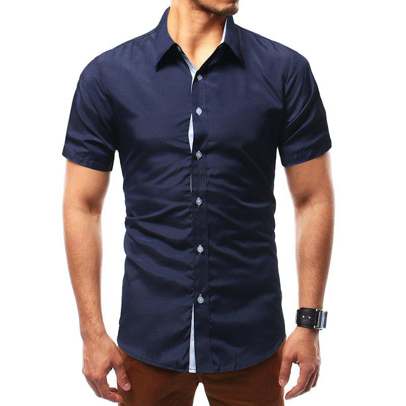 Buy Solid Color Short Sleeve Casual Wild Men's Shirt
