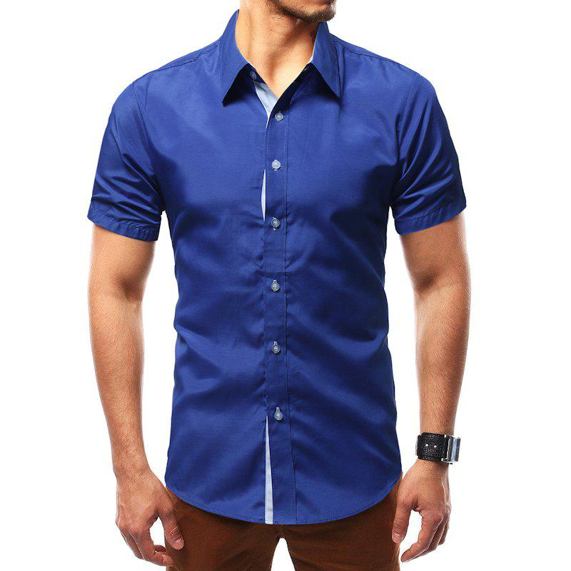 Discount Solid Color Short Sleeve Casual Wild Men's Shirt
