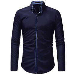 Double-Necked Men's Casual Slim Long-Sleeved Shirt -