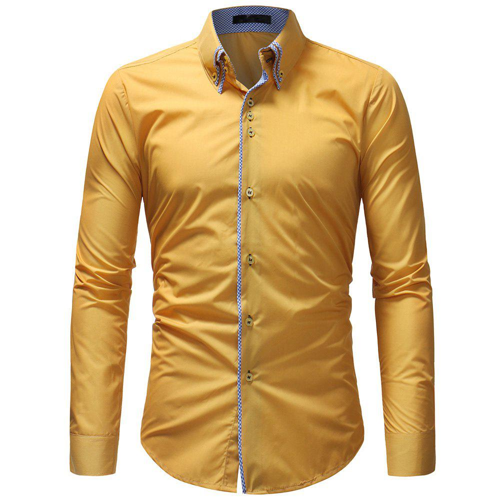 Discount Double-Necked Men's Casual Slim Long-Sleeved Shirt