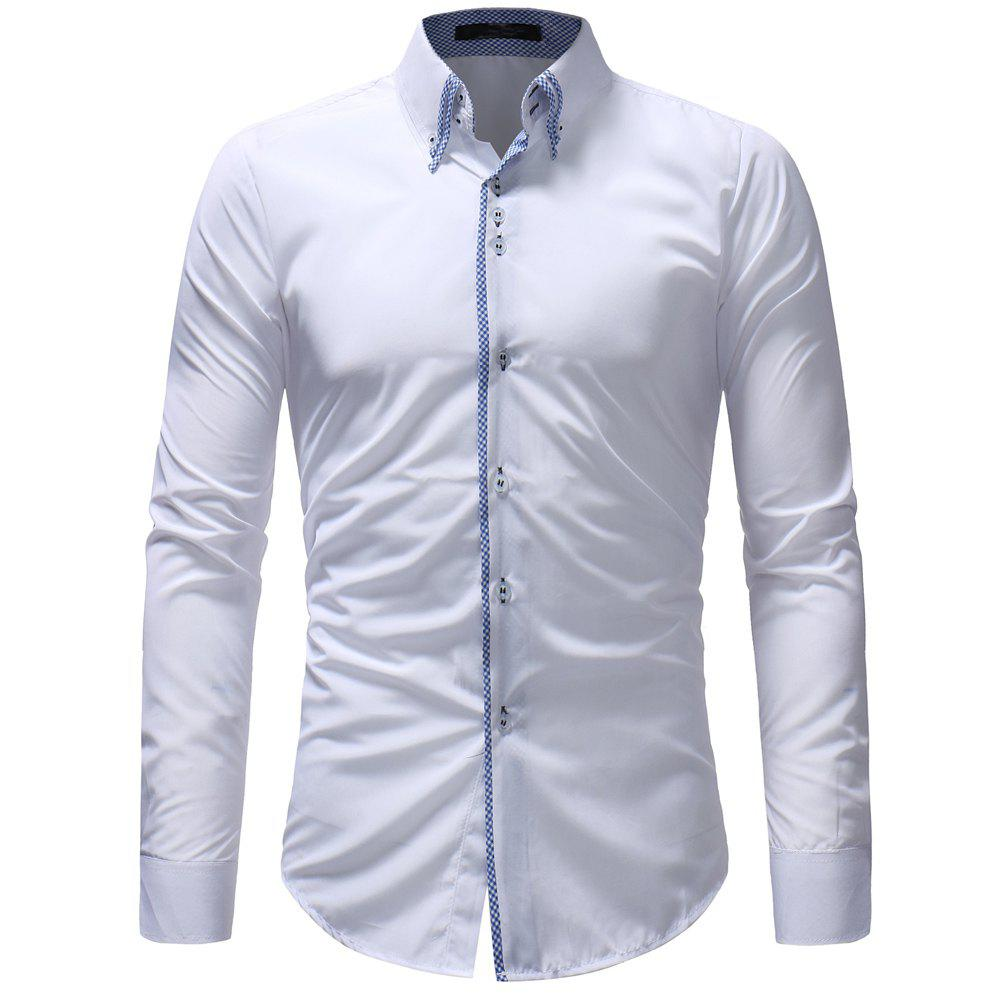 New Double-Necked Men's Casual Slim Long-Sleeved Shirt