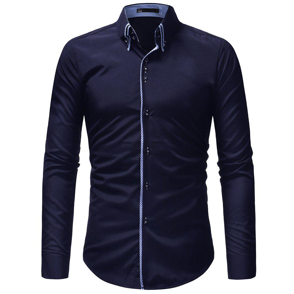 Cheap Double-Necked Men's Casual Slim Long-Sleeved Shirt