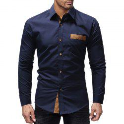 Classic Paste Pocket Spell Color Men's Casual Long-Sleeved Shirt Slim -