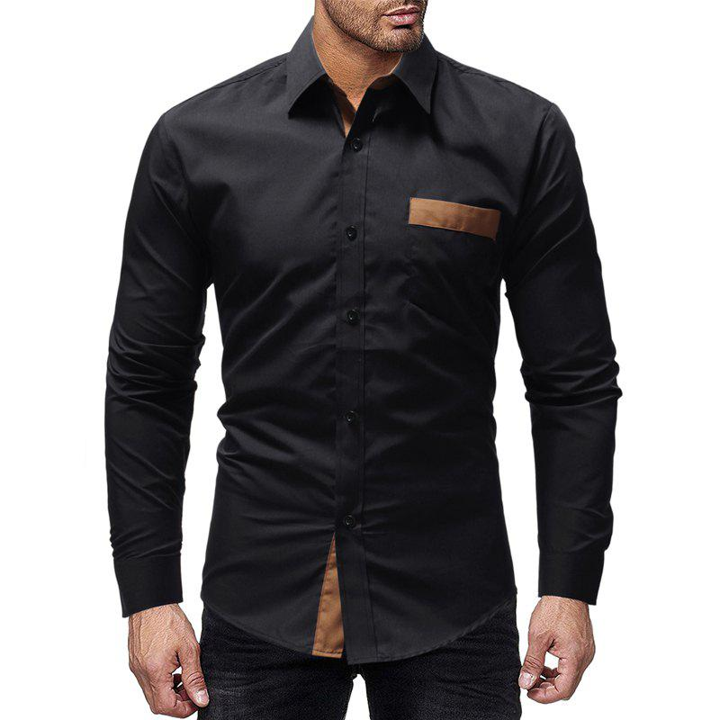 Best Classic Paste Pocket Spell Color Men's Casual Long-Sleeved Shirt Slim