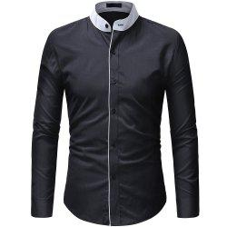 Contrast Stand Collar Men's Casual Slim Long Sleeve Solid Color Shirt -