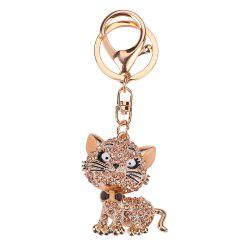Fashion Diamond Small Cat Key Chain Lady Back Bag Pendant -