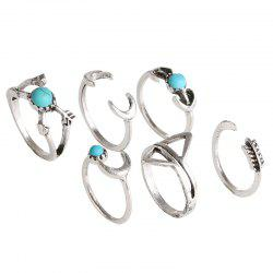 Six Pieces Fashion Style Geometric Turquoise Ring -