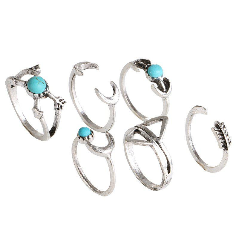 Unique Six Pieces Fashion Style Geometric Turquoise Ring
