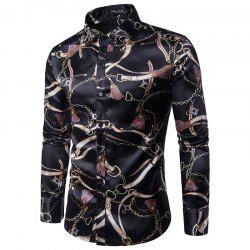 Printed Men's Long Sleeve Shirt -