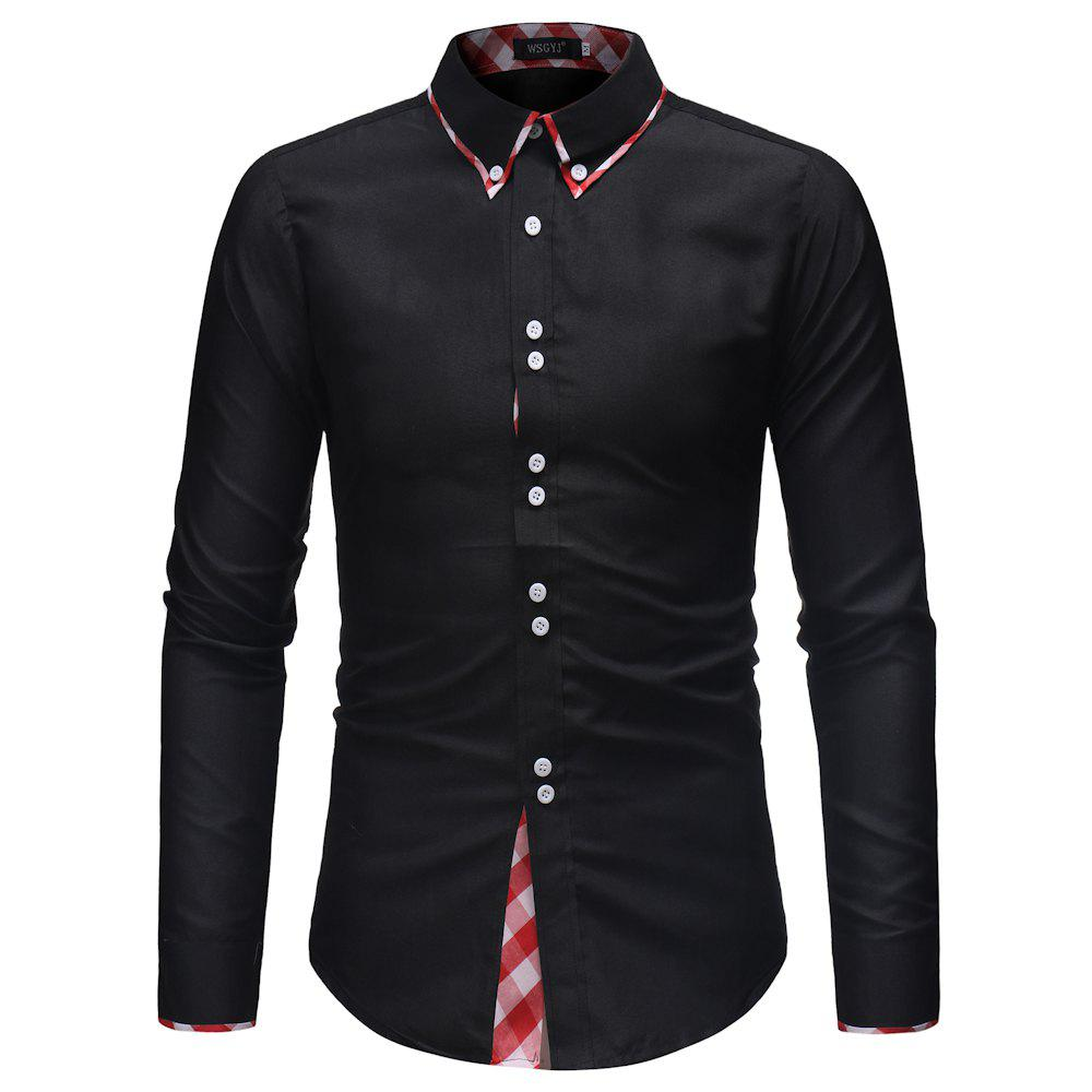 Fancy Men's Personality Double Collar Plaid Stitching Fashion Slim Long-sleeved Shirt
