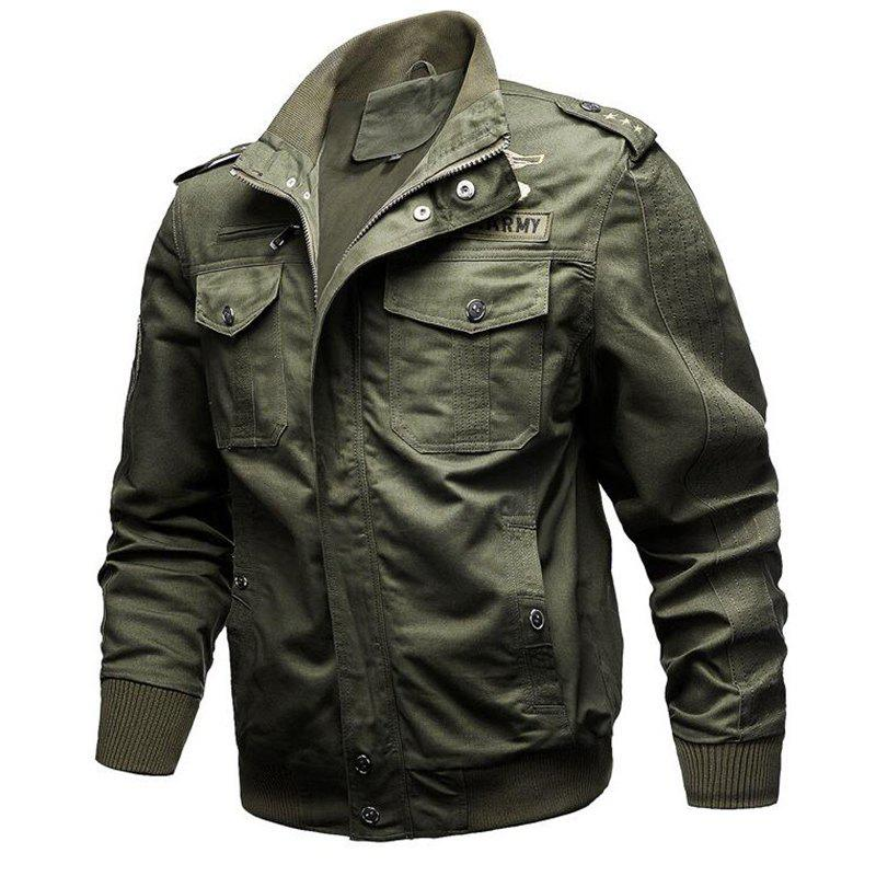 6475d07c7af Latest Plus Size Men s Epaulette Design Stand Collar Casual Army Military  Jacket