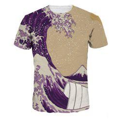 Creative Sea Wave Digital Print Short Sleeve T-shirt -