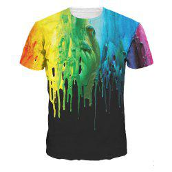 Watercolor 3D Digital Print Short Sleeve T-shirt -