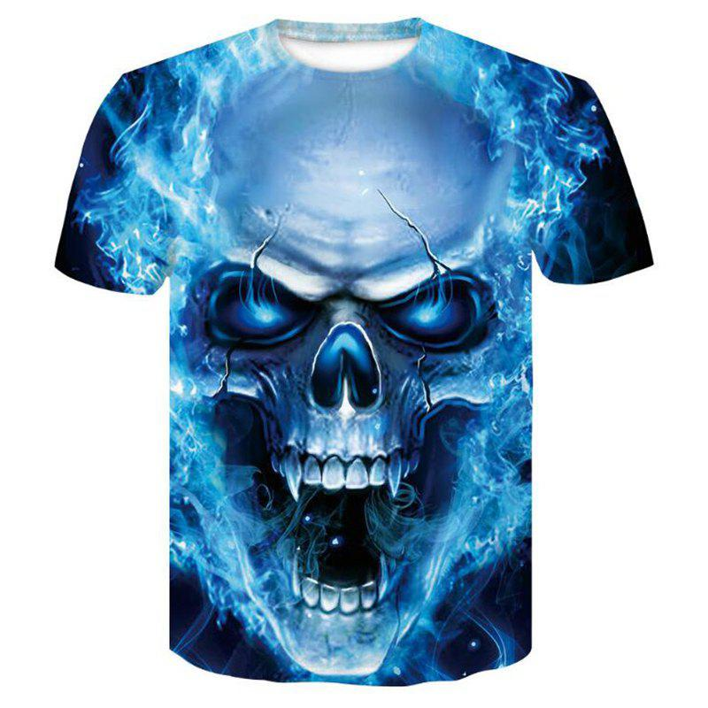 Sale Men's Casual 3D Print Lion Wolf Skull Starry Sky Short Sleeves T-shirt