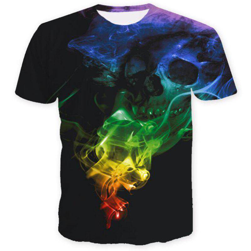 Affordable Men's Casual 3D Print Lion Wolf Skull Starry Sky Short Sleeves T-shirt