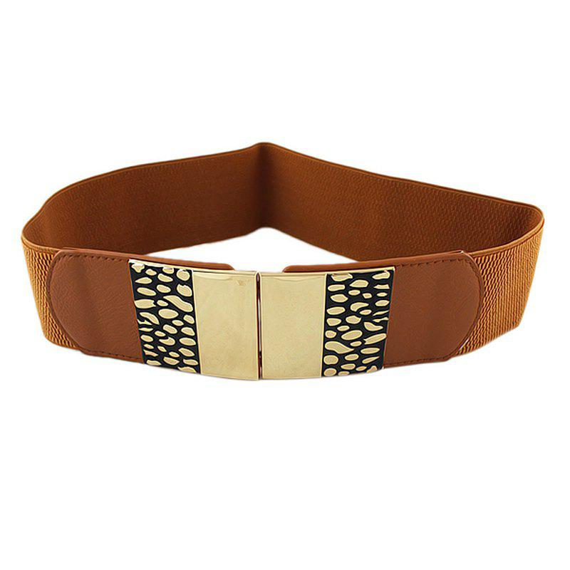 Store Fashion PU Metal Geometry Elastic Belt