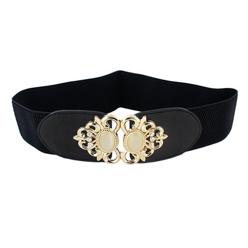 Outfit Elastic Ribbon Rhinestone Wide Belt for Women