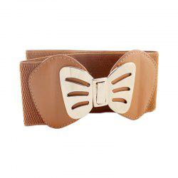 Fashion PU Leather with Metal Hollow-out Bowknot Belt -